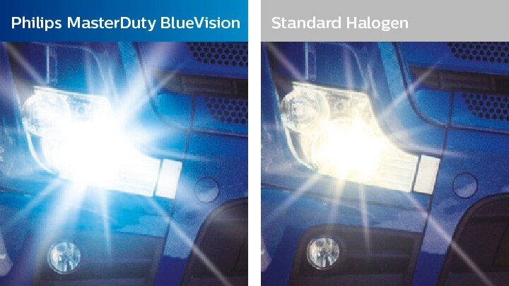 compare the light output of the masterduty blue vision to a standard light
