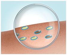 Dirt and fat molecules are turned into water-soluble droplets